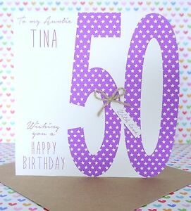 Personalised Handmade 50th 60th Birthday Card Sister Auntie
