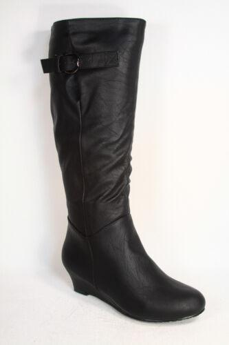 Women/'s Low Wedge Flat Heel Round Toe  Knee High Causal Dress Boot  Size 5-10