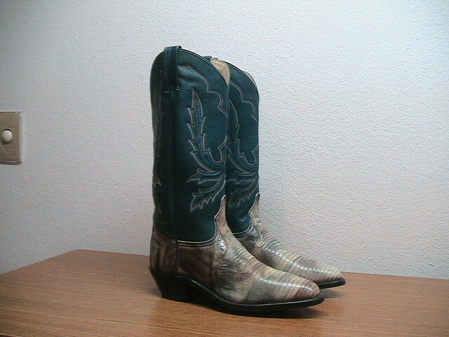 vendita con alto sconto NEW donna donna donna 7M Dan Post blu Marrone Exotic Lizard Western Cowboy stivali MSRP  472  nuovo sadico