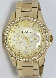 Authentic-Original-Fossil-ES3203-Riley-Champagne-Gold-Ladies-Womens-Watch
