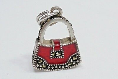 Sterling Silver Marcasite and Red Enamel Antiqued Apple Charm