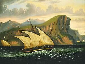 CHAMBERS-AMERICAN-FELUCCA-GIBRALTAR-OLD-ART-PAINTING-POSTER-PRINT-BB5071A