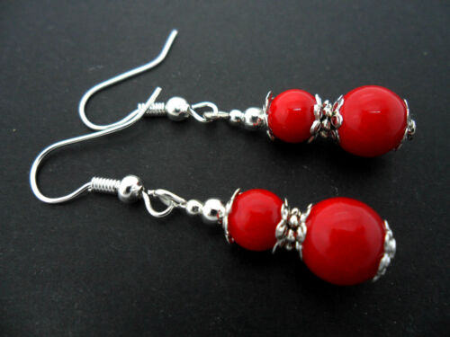 NEW. A PAIR OF PRETTY RED CORAL BEAD  SILVER PLATED    EARRINGS