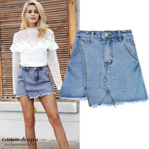 Ladies-Denim-Skort-High-Waisted-Frayed-Shorts-Australia-Size-8-10-12-14-IN-HAND