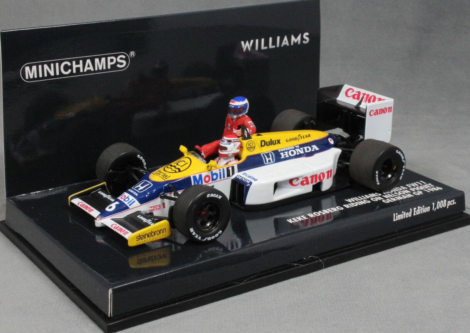 Minichamps Williams FW11 Alemania Nelson Piquet Keke Rosberg levantar 1986 410860106