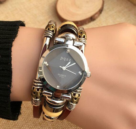 Fashion Dress Womens Genuine Leather Bracelet Quartz Analog Wrist Watch #10