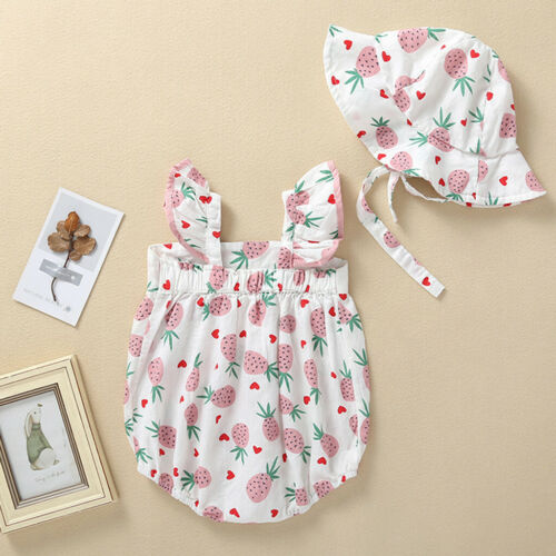 Summer Toddler Infant Baby Girls Straps Fruits Print Romper Sunsuit Hat Bodysuit