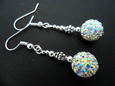 A PAIR OF DANGLY WHITE SHAMBALLA STYLE     EARRINGS.
