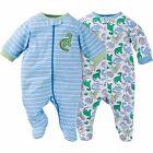 NEW GERBER Newborn Baby Boy Zipper Footie Pajamas Onesie 0-3 mo, 2 pk NWT
