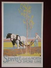 POSTCARD  USA 1929 POSTER SPRING ALONG THE NORTH SHORE LINE
