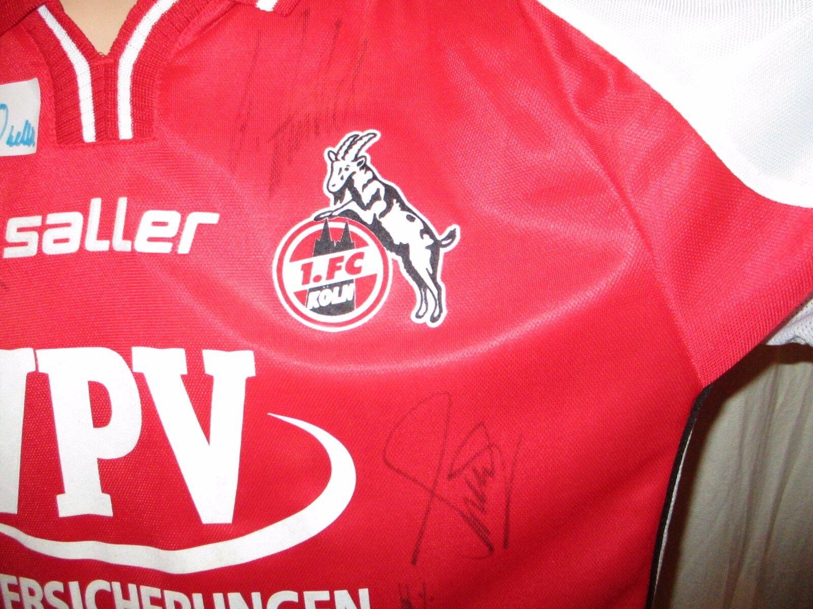 1.FC Köln Köln Köln saller Aufstieg Trikot 2002 03  VPV  + Handsigniert Gr.L XL Neu 2d3e8d