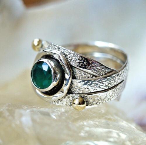Breit 1,2 Handarbeit Ring Silber 53 54 59 Silberring Antik Design Smaragd Grün