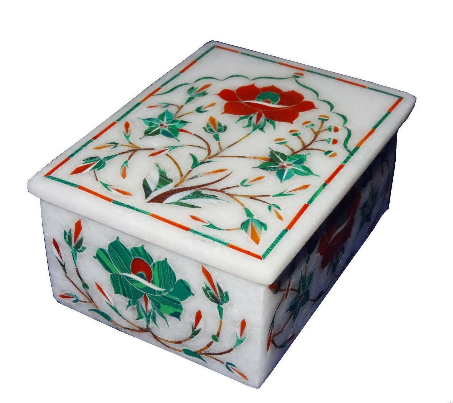 Marble ring Box Floral semi precious stones Inlay Work Home Decor and gifts