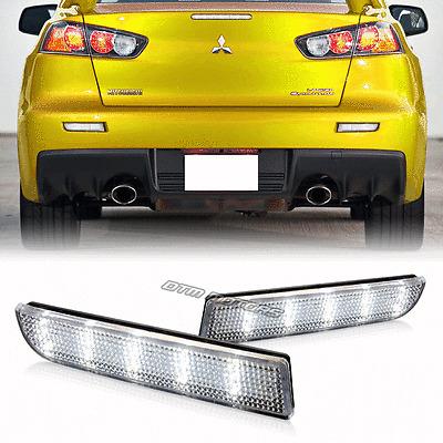 Rear Bumper Reflector Clear Lens LED Brake Lights For 08-14 Mitsubishi Lancer