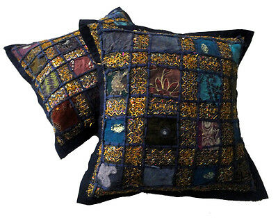 10 Embroidered Sequin Patchwork Indian Sari Cushion Covers Wholesale Lot