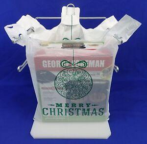 Holiday-Plastic-T-Shirt-Bags-Handles-Green-Christmas-Ball-11-25-034-x-6-034-x-21-034