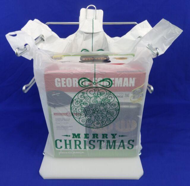 Holiday Plastic T-Shirt Bags Handles Green Christmas Ball 11.25