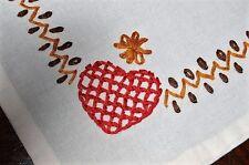 CHRISTMAS IS TIME FOR LOVE! VTG GERMAN TABLE RUNNER W/ HEARTS & STARS OF CHRIST