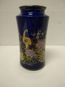 Vintage-Japan-Stoneware-Vase-Peacock-Floral-Cobalt-Blue-6x3x3-1lb-Floral-Tree