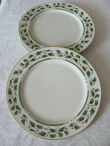 Holly-Holiday-Home-for-the-Holidays-Holly-w-Gold-Rim-Dinner-Plate-s-4-Avail