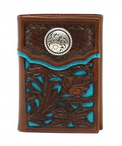 Nocona Western Mens Wallet Trifold  Floral Overlay Turq Concho Brown N5426327