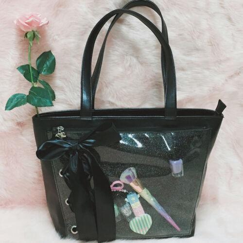 Japanese Fashion Transparent Itabag Women Shoulder Handbag Anime Bow Lace Bag