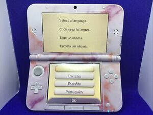 Nintendo 3DS XL Handheld Console Video System - Pink & White Marble Decal Design