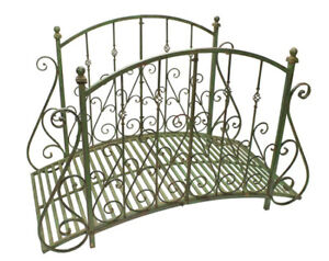 "Garden Bridge  37.5 "" Tall - Iron - Rustic Green Finish - Garden Decor"