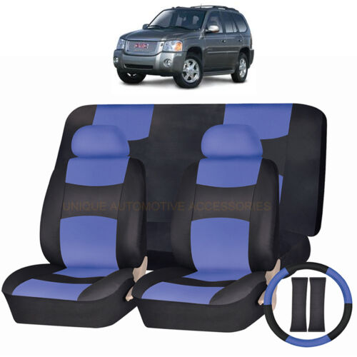 PU LEATHER BLUE /& BLACK SEAT COVERS 11PC SET for GMC ACADIA ENVOY