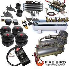 "Chevy Silverado 8898 1500 Air Kit Pewter 2600 Bags 1/2"" Valve Black 7 Switch xzx"