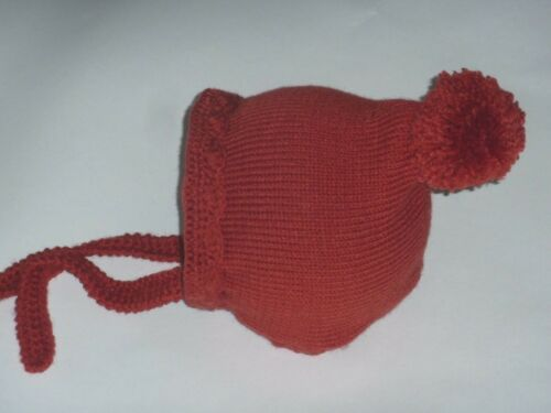 Terre cuite Baby Hand Knitted Crochet lutin bonnet Beanie POM POM Chapeau 3-6 mois
