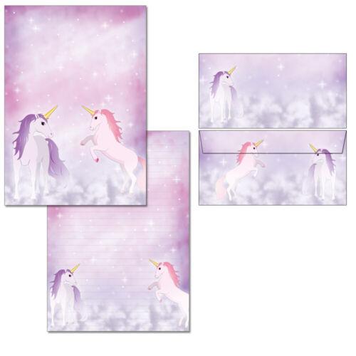 Schreibblock Einhorn pink A4 25 Blatt Briefpapier 10 Kuverts Pferd Briefblock