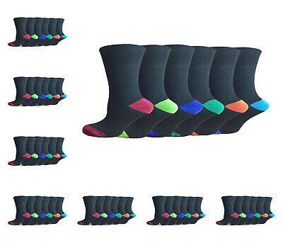 12 Pairs Pack Mens Socks Black Coloured Toe And Heel Bio Fresh Size 6-11 Socks