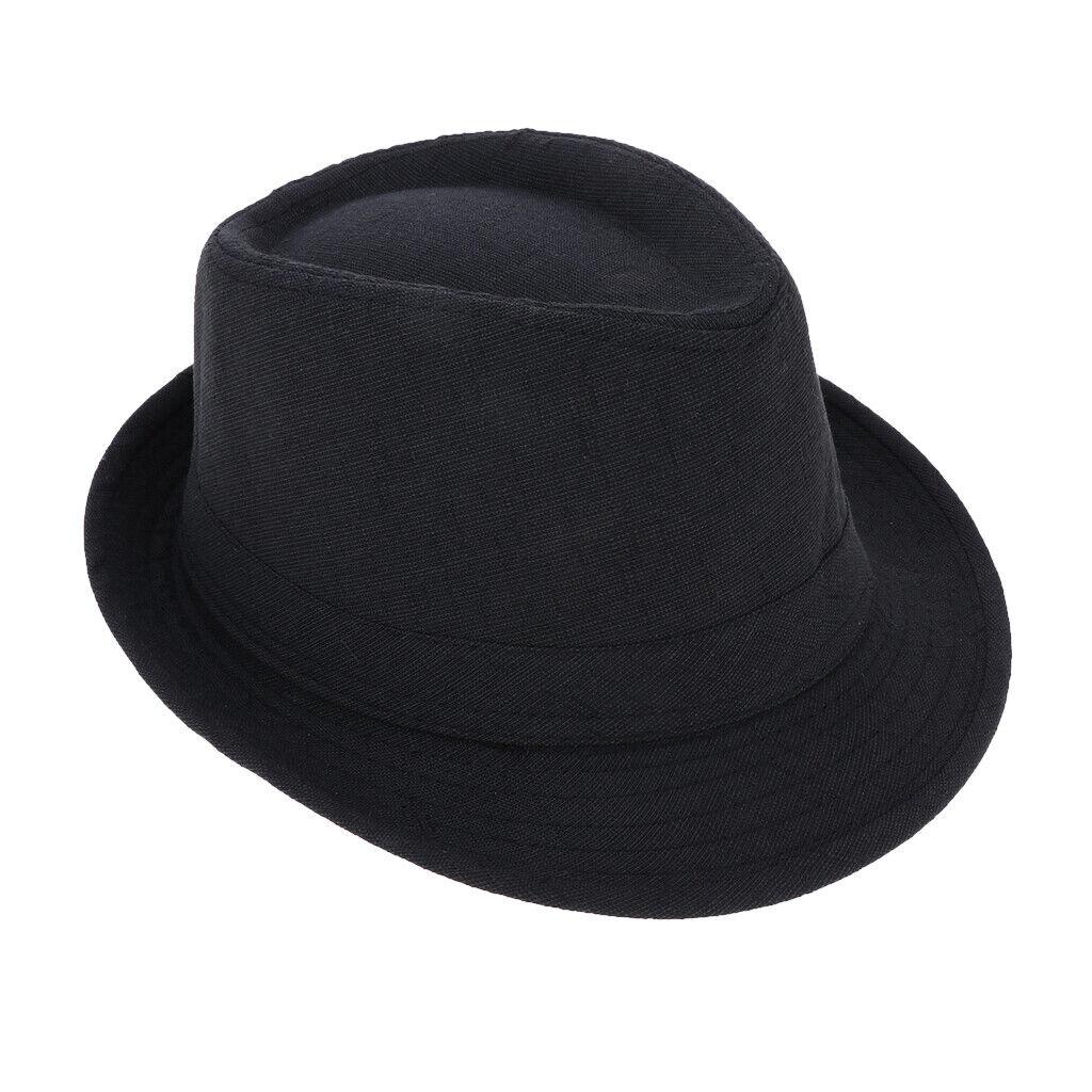 Klassischer Manhattan strukturierter Gangster-Trilby-Stoff-Fedora-Hut schwarz