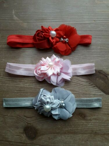 Baby girls pretty headbands in a choice of 3 colours size 0-3 Months