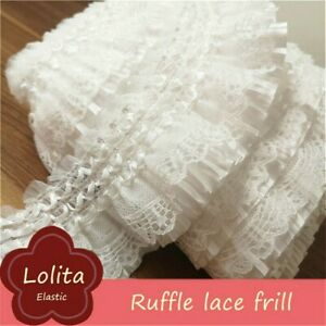 Ruffle Pleated Tiered Trimming 3 Layers Edging Lace Frill Fabric Mesh Sewing