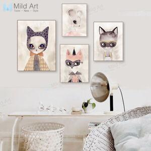 Image Is Loading Modern Cute Watercolor Animal Cat Fox Poster Kids