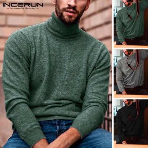 Men/'s Winter Warm Knitted Roll Turtle Neck Pullover Sweater Jumper Casual Jumper