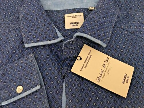 Nouveau $79 Murano Baird McNutt Crisp Lin Slim Fit Chemise Denim Chambray homme XL