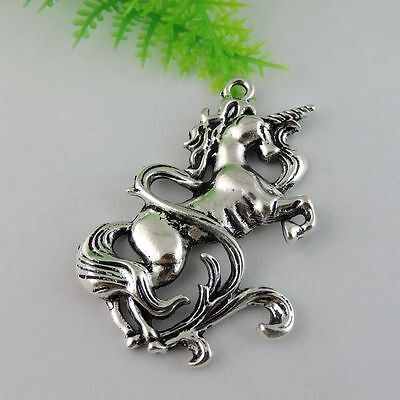4x Antiqued Style Silver Alloy Horned Beast Horse Shaped Pendant Charm 40*50*5mm