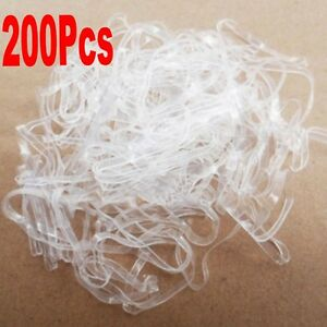 High-Brand-200pcs-Hair-Tie-Band-Ponytail-Holder-Elastic-Rubber-Clear-White-Women