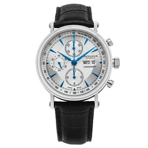 Alexander-Men-039-s-ETA-Valjoux-7750-Swiss-Chronograph-Stainless-Steel-Leather-Watch