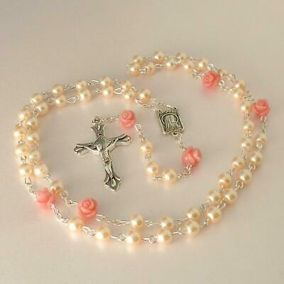 Imitation Pearl Pink Rosary Beads Girls First Holy Communion Gift Bag Rosaries