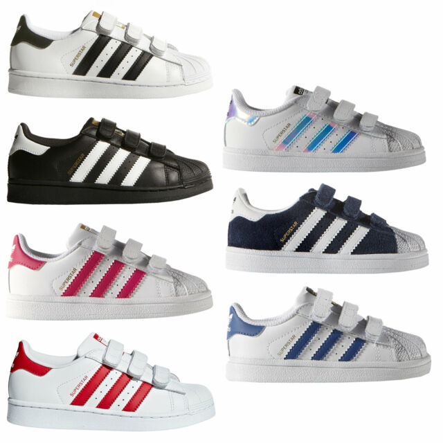 Adidas Originals Superstar Toddler Sneaker Touch Fastener Shoes Kids Shoes