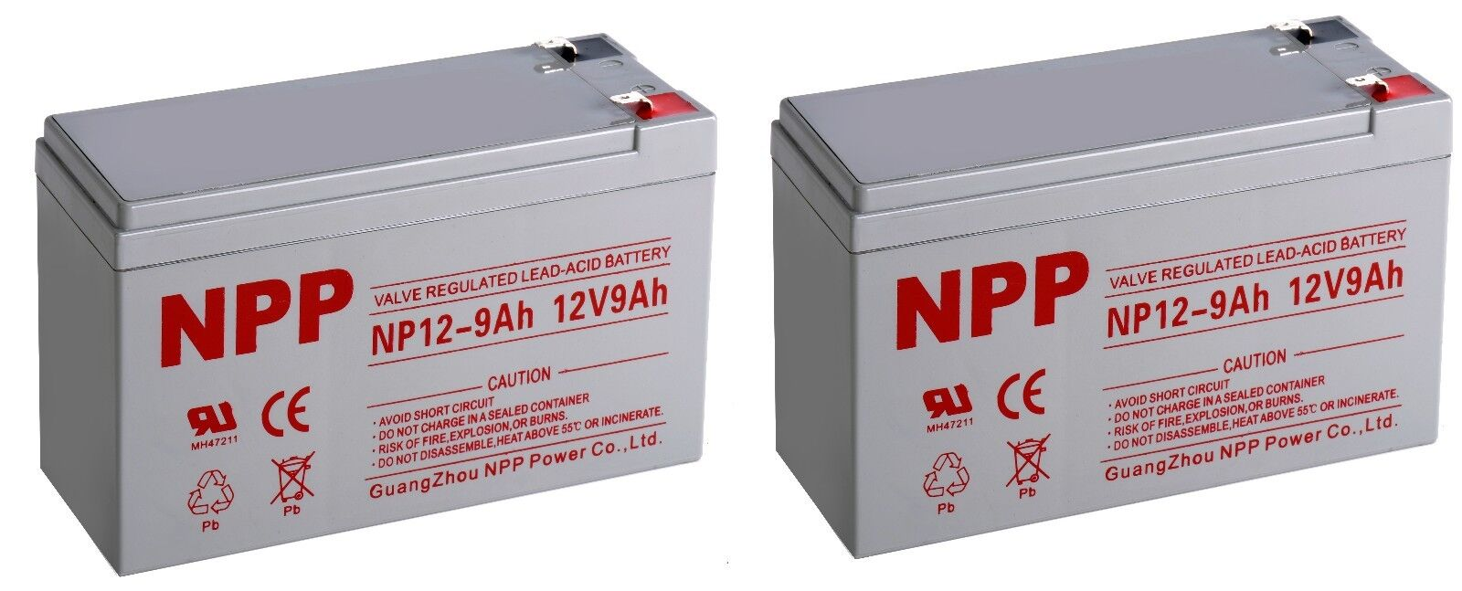 NPP 12V 9Ah 12Volt 9 amp Rechargeable Sealed Lead Acid Battery F2/ (2pcs)