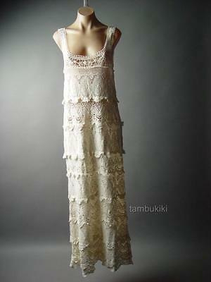 Tiered Crochet Doily Victorian Vtg-y 20s 30s Tea Gown Long Slip 94 ac Dress S