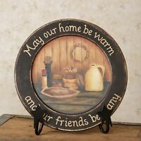 Primitive Country Rustic Decorative Wood Plate  May Our Home Be Warm...