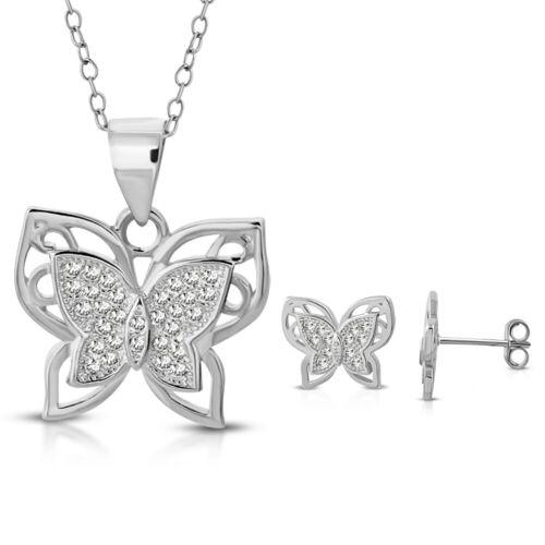 "18/"" 925 Sterling Silver Clear CZ Butterfly Pendant Necklace Stud Earrings Set"
