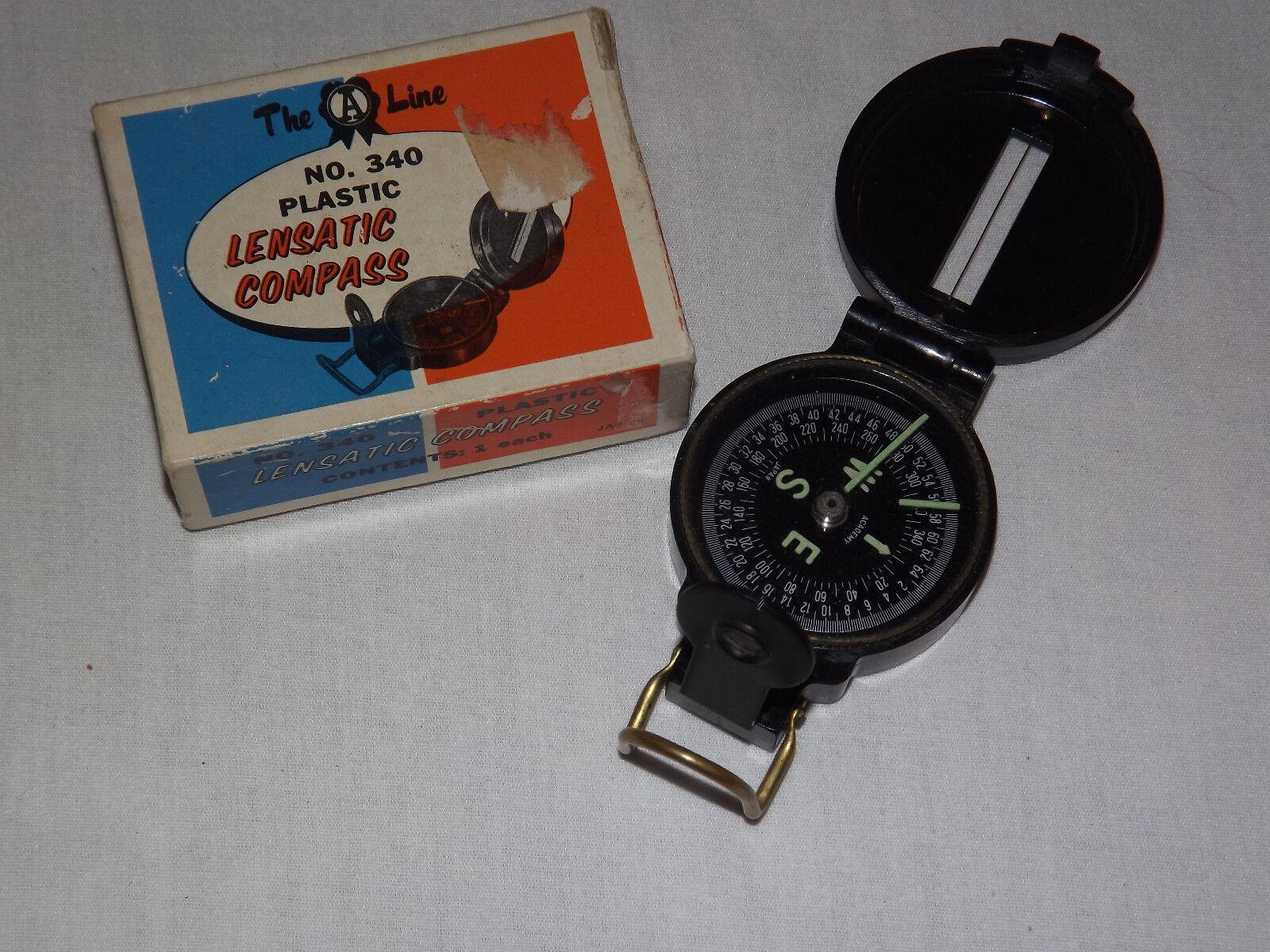 VINTAGE 1960-70S THE A LINE PLASTIC LENSATIC COMPASS IN BOX