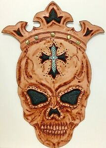 CARVED-LEATHER-BLACK-KING-STINGRAY-SKULL-WITH-CROSS-BIKER-PATCH-HARLEY-RARE-UNIQ